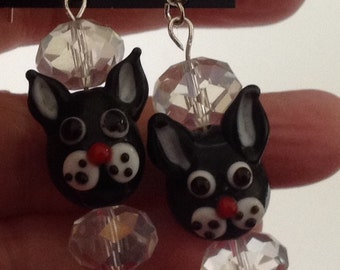Kitty and Crystal earrings