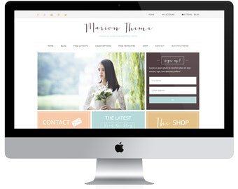 Ecommerce Wordpress Theme / Genesis Child Theme / Woocomerce Theme / Marion Theme / Gold Coral Mint / Responsive Feminine Website /