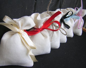 Light Beige Linen Gift bags - Wedding favor bags - optional sizes- Small Linen Favor Bags-  100% Natural Linen bags