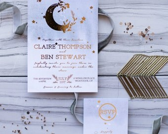 Gold Foil, Shimmer, & Watercolor Wedding Invitation Suite | Starry Night