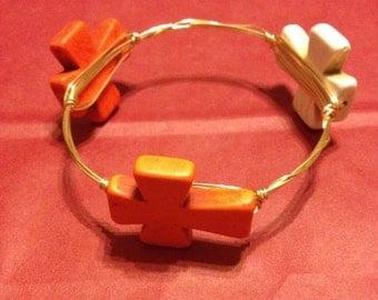 Wire Wrapped Orange and White Cross Bracelet, Bangle Bracelet