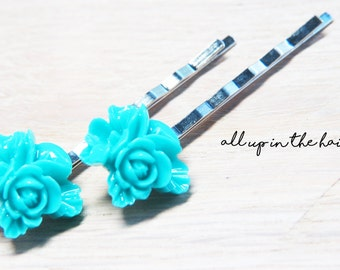 Teal Flower Bobby Pins - Bouquet Bobby Pins