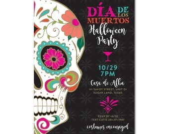 Day of the Dead/Día de los Muertos Halloween Party 5x7 Invitation - Sugar Skulls - Printable and Personalized