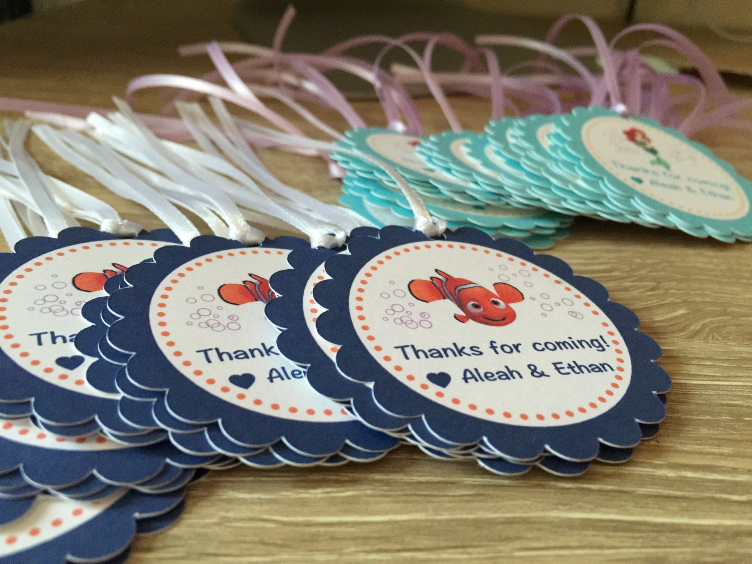 Beach Pail Party Favors Saying Thank You For Coming: Finding Dory Finding Nemo Party Favor Tags With Ribbon Dory