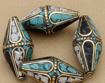 4 Beads  - Brass   Tibetan Nepalese Ethnic Tribal Nepal Turquoise Black White Howlite  B101
