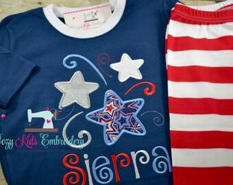 Fourth of July Pajamas, 4th of July PJS, Patriotic Pajamas, Summer Pajamas, Star Pajamas, Applique Pajamas, Girl Pajamas,