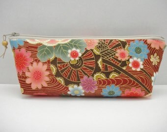 Japanese pencil case, Zipper pouch, Flowers and flowing water, Wine red