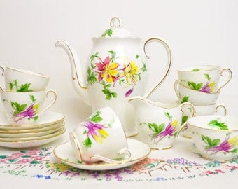 1950s pretty china coffee set by adderley china, pattern number 604