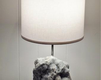"Blue Celestite Table Lamp ""Sonia""//Rock Crystal Lamp//Gemstone Lamp//Mineral Lamp//Geode Lamp"