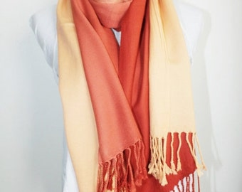 On Sale New woman's dark orange to light orangelong scarf