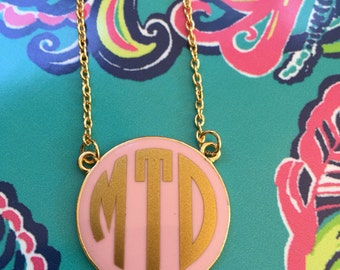 Monogram Round Enamel Disc Necklace, Monogrammed Necklace, Initial Necklace
