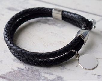 Mens Braided Leather Bracelet - Mens Jewelry - Mens Leather Bracelet - Mens Bracelet - personalized mens gift - Custom Engraving
