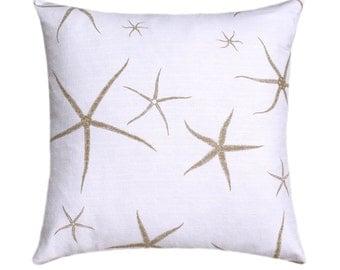 Starfish Pillow, Taupe Starfish, Decorative Pillow, Throw Pillow, Toss Pillow, Nautical Pillow, Sea Star Sand, Home Decor, Lacefield Pillow