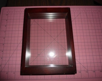 vintage wood sliding rotating glass double sided frame