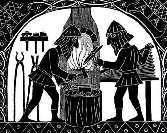Forging Sigurd's Sword – Greetings Card