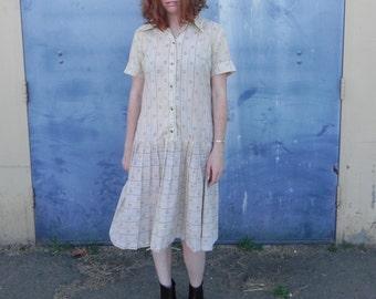 RARE 1920's Tan Tennis Dress (Wearable Condition)