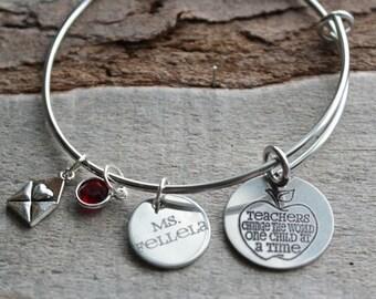 Teachers Change the World Personalized Adjustable Wire Bangle Bracelet