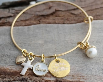 Gold Plated Love Personalized Adjustable Wire Bangle Bracelet