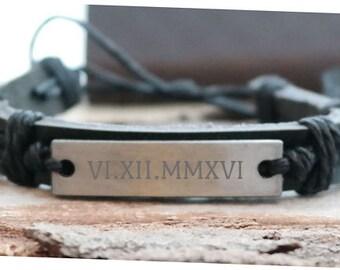 Wedding Roman Numerals Personalized Black Leather Bracelet - Engraved