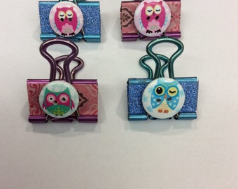 Owl Button Binder Clips
