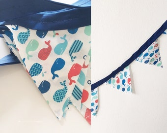 Whale Bunting Flags Boys Room Decor Baby Gift Party Decoration Blue Red