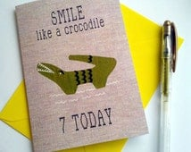 Customisable 7 today appliqued crocodile fabric print Birthday greetings card with yellow envelope