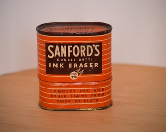 Vintage 1930s Sanford's Dbl Duty Ink Eraser Kit No. 298 with Two Ink Bottles with Tin-All Original, Made in USA