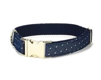 Indigo Swiss Dot Dog Collar, Indigo Dog Collar, Chambray Dog Collar, Preppy Dog Collar, Denim Dog Collar, Navy Dog Collar, Swiss Dot Collar