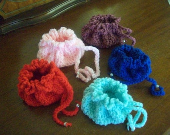 Set of 5,gift,drawstring,bags,door prize,crocheted,beads,favors,party,girls,pouches,birthday,seniors,teens,women