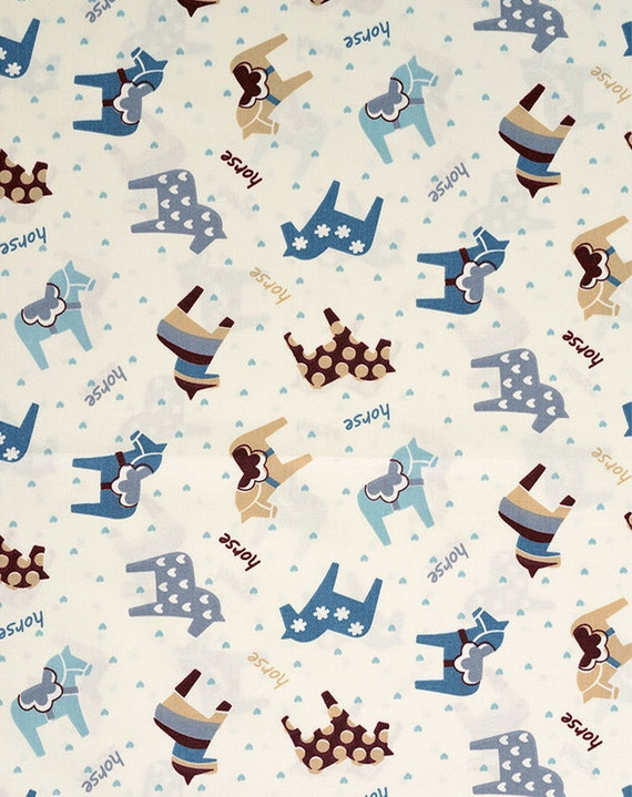 Baby cotton fabric blue horses collection and blue with for Horse fabric for kids