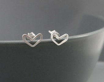 Chevron Earrings - Sterling Silver Arrow Stud earrings, Dainty V Shaped Wire Post