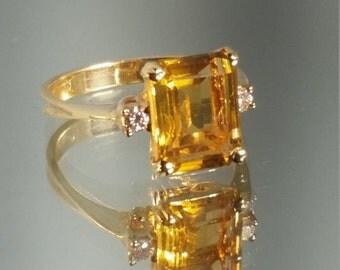 ON SALE Vintage - ***Never Worn*** 10K Solid Yellow Gold Emerald Cut Yellow Topaz & Diamond Ring Retro Vintage