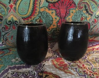 Black Stemless Wine Glasses