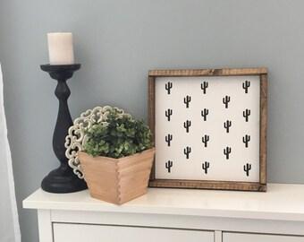 Cactus wood sign, saguaro cactus, sign