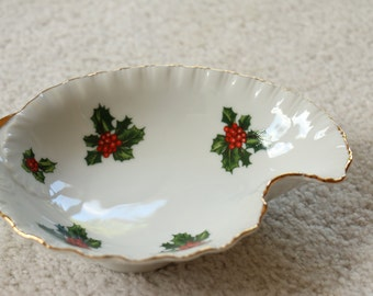 Vintage Lefton China Holly Candy Dish