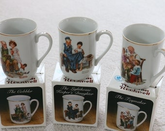 Set of 3 Norman Rockwell Coffee Cups with Original Boxes