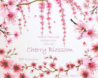 Watercolor Flowers Clipart, Cherry Blossom Hand Painted, Watercolor Flowers, Spring, Sakura,  Invitation, Diy, Scrapbooking. Sherry Blossom