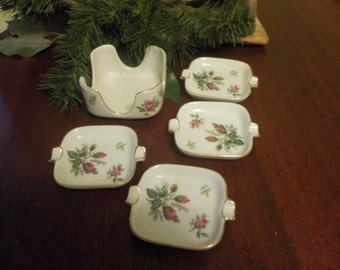 Vintage Fredroberts Company  San Francisco,  Four Personal Chintz Ashtrays And holder,  Salt & Pepper Cellars