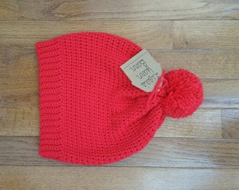 Crochet Slouch Beanie with Puff
