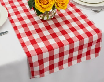Red And White Picnic Check Gingham Polyester Table Runner