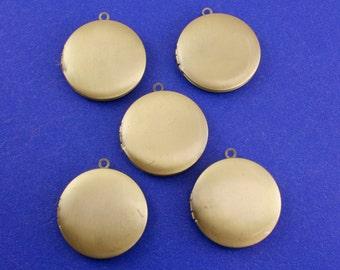 5 pcs - Antique Brass Locket, 32mm Round locket, Brass Locket, Bronze Locket - AB-B23391