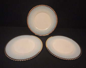 "Vintage MacBeth Evans Ivrene Cremax Gold Rim Petalware 8"" Plates set of (3) Three"