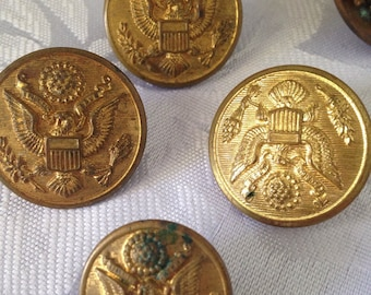 4 VINTAGE metal buttons from waterbury button co and one badge of same eagle design