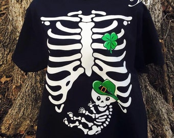 Irish Baby Rib Cage st patricks day womens adult pregnancy t shirts  gifts for her maternity gifts heat transfer baby shower gifts