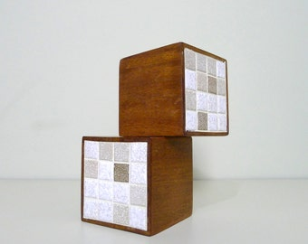 Vintage Martz Pottery Tile and Walnut Bookends, Marshall Studios, Jane and Gordon Martz, Mid Century Modern