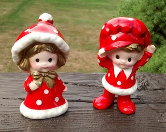 Vintage Inarco Japan Red Polka Dot Christmas Girl and Boy Figurines