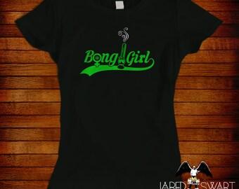 Bong Girl T-shirt Artwork Of Jared Swart Pop Art Series S M L Xl 2xl 3xl 4xl 5xl Also In Ladies Fit S-2xl