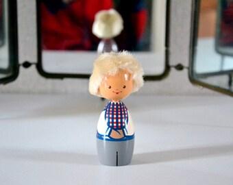 Vintage Salvo Eesti Wooden Doll Hand painted / miniature doll Made in Estonia / Folk Art