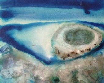 Lagoon original painting watercolor ink on canvas