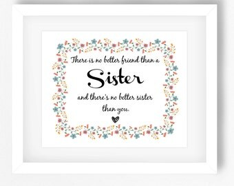 Gift for Sister, Unique Gift for Sister, Christmas Present for Sister, Heart to Heart Print, Personalised Print for Sister, Floral Print Art